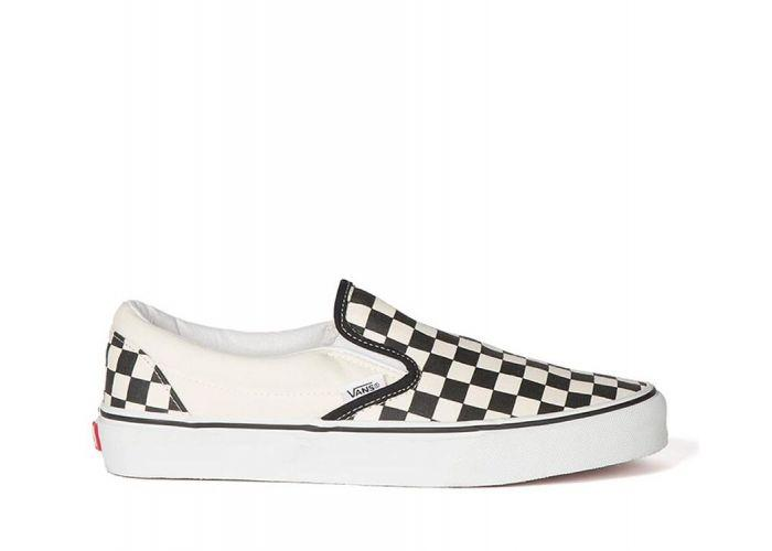 18bbfdfba181 Shop Vans Classic Slip-Ons Black White (Checkerboard)