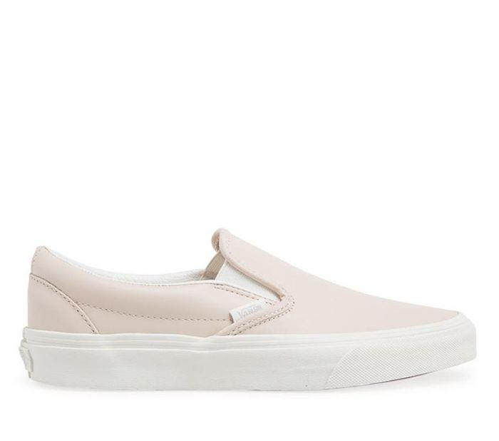 796fa24c13 Shop Vans Classic Slip-On (Leather) Pink White