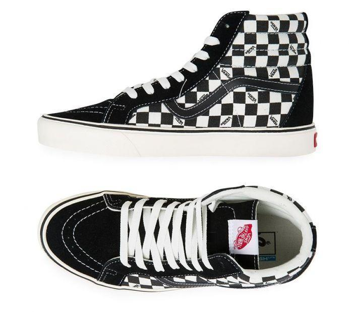 917de464c325b3 Shop Vans SK-8-Hi Lite + Checkerboard Black