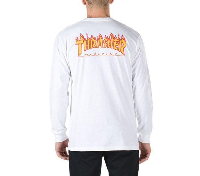 Shop Vans Apparel and Accessories THRASHER CHECKER LS WHITE  86c8ff9ed