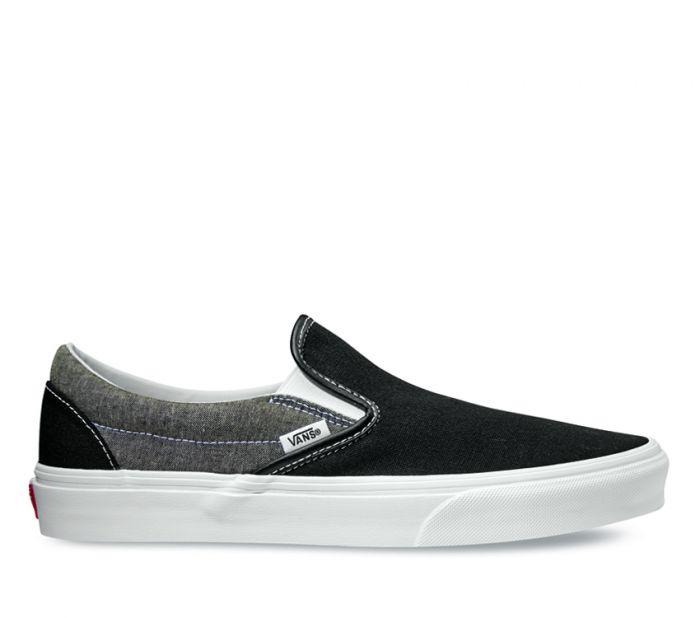 e76d2da592 Classic Slip On Chmbray Canvas Black/White