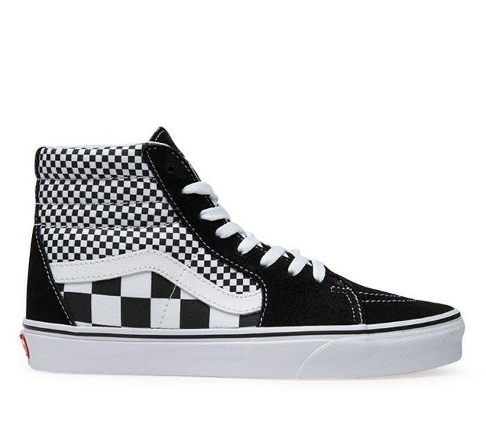 5f3f86968ea202 Shop Vans SK8-HI (MIX CHECKER) BLK T WHT