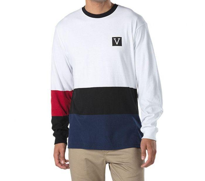7341713411 Shop Vans Apparel and Accessories CHIMA COLORBLOCK LS WHITE